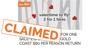 2 for 1 flights with Tigerair  - claimed